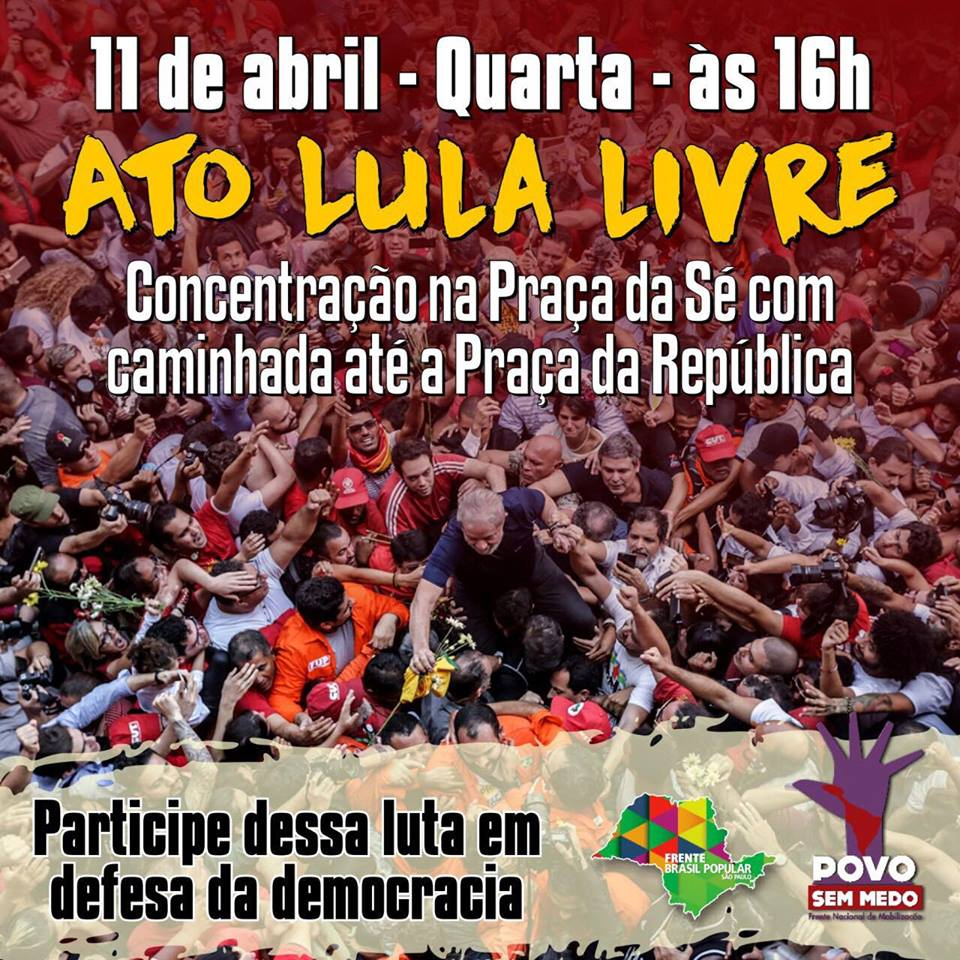 Movimentos sociais divulgam cidades e locais de atos em defesa da liberdade Lula, que ocorrerão nesta quarta-feira (11), por todo país e no mundo. As mobilizações serão simultâneas à tentativa do Ministro Marco Aurélio de Mello de colocar em pauta o julgamento das Ações Diretas de Constitucionalidade contra a prisão antes do trânsito em julgado.