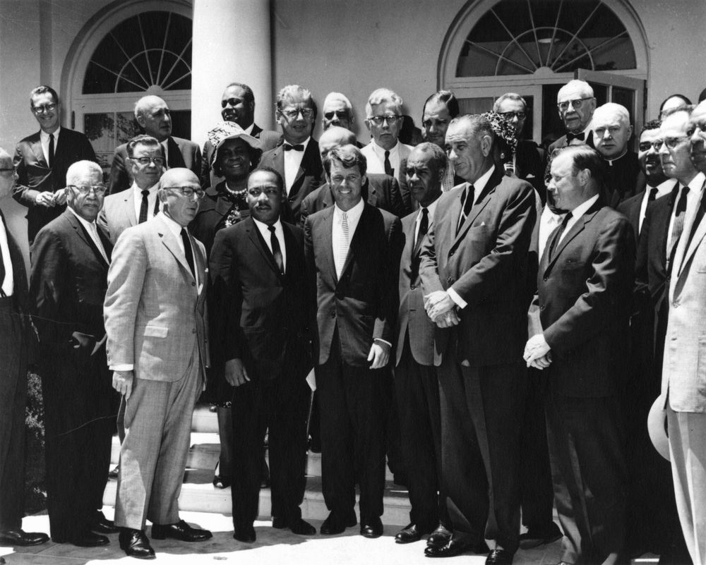 Martin Luther King, Jr. and Civil Rights Leaders with Attorney General Bobby Kennedy and Vice President Lyndon B. Johnson