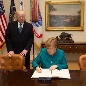 Guerra Comercial: Presidente dos EUA, Donald Trump, recebe Angela Merkel, chanceler alemã, na Casa Branca, Washington.