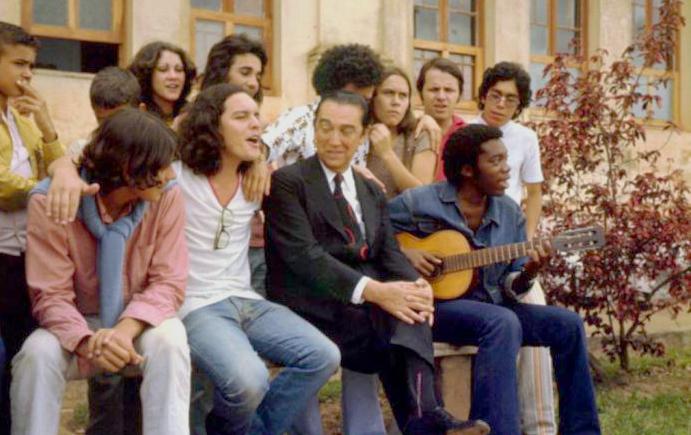 Lo Borges, Fernando Brant, o ex-presidente da República Juscelino Kubitschek e Milton Nascimento em 1971