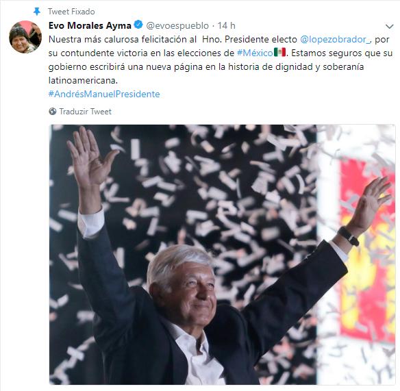Tweet de Evo Morales parabenizando Lopez Obrador