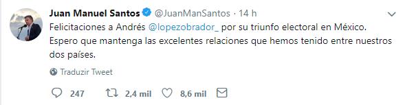 Tweet de Juan Manuel Santos parabenizando Lopez Obrador