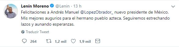 Tweet de Lenin Moreno parabenizando Lopez Obrador