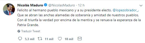 Tweet de Nicolas Maduro parabenizando Lopez Obrador