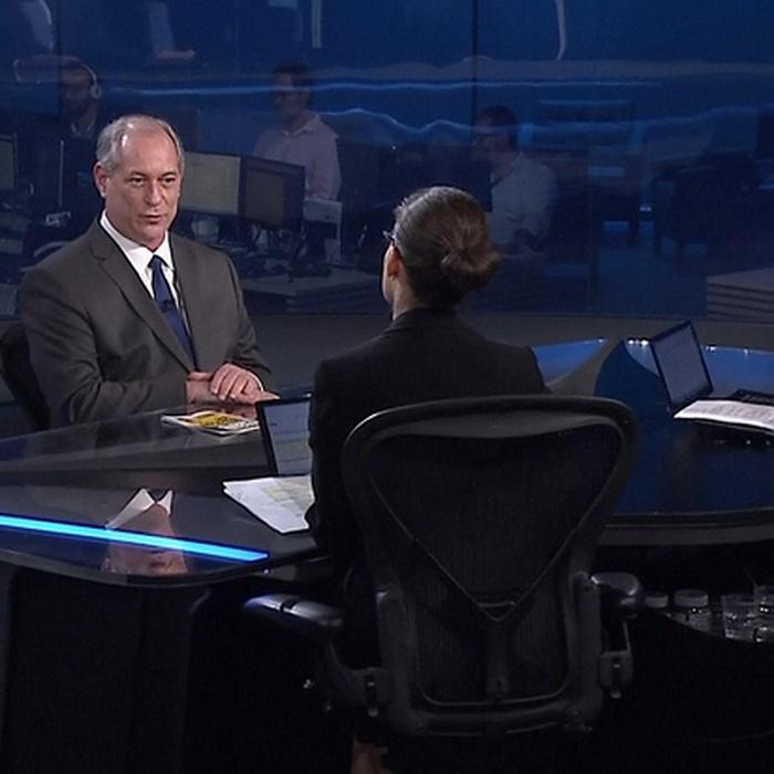Ciro Gomes no Jornal Nacional durante entrevista em 27/08/2018