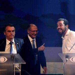 Bolsonaro, Alckmin e Boulos durante o debate na Band Foto por F. Bizerra Jr.