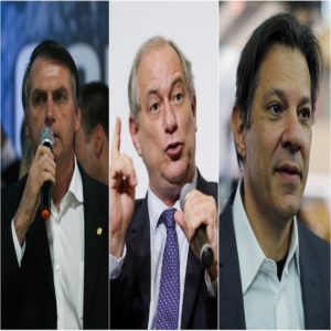 Jair Bolsonaro, Ciro Gomes e Fernando Haddad
