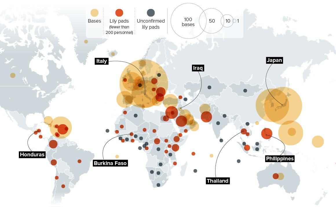 Mapa das bases militares dos EUA ao redor do mundo