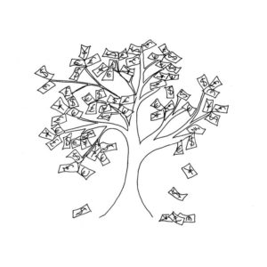 Desenho em preto e branco representando uma árvore de dinheiro