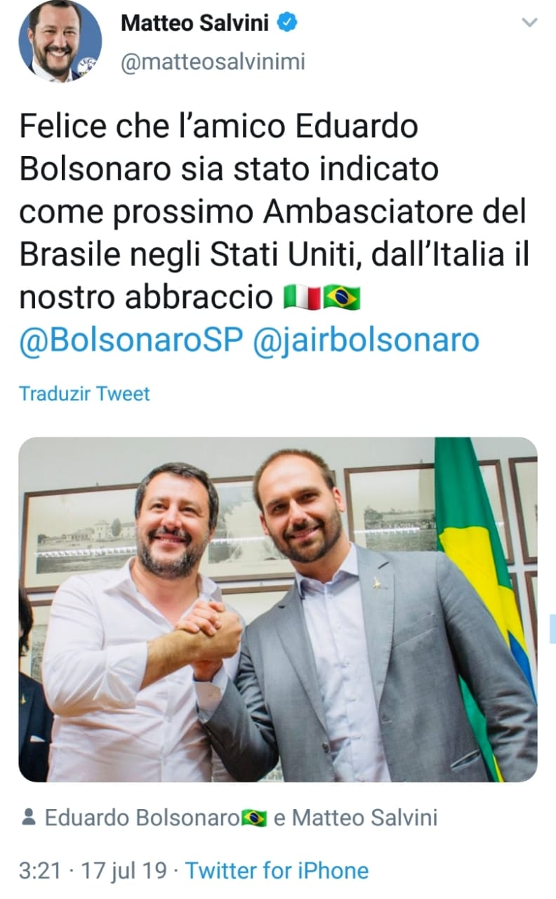 he movement steve bannon eduardo bolsonaro embaixador salvini twitter