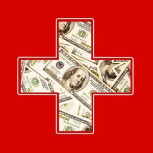 sinalizando emergência. Contudo, em vez de ser branca, a cruz está cheia de dólares.