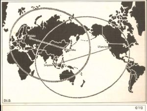 Mapa mundi estilizado em preto e branco