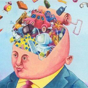 Ilustração de um busto masculino com a cabeça aberta. Do buraco sai uma grande quantidade de mercadorias.