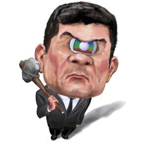 Caricatura de Sérgio Moro como um ciclope e o símbolo da Rede Globo no lugar do olho. O ministro segura um machado de pedra lascada.