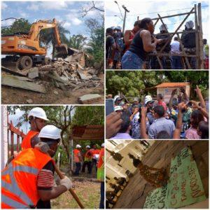 Colagem de imagens da remoção na comunidade do Cajueiro