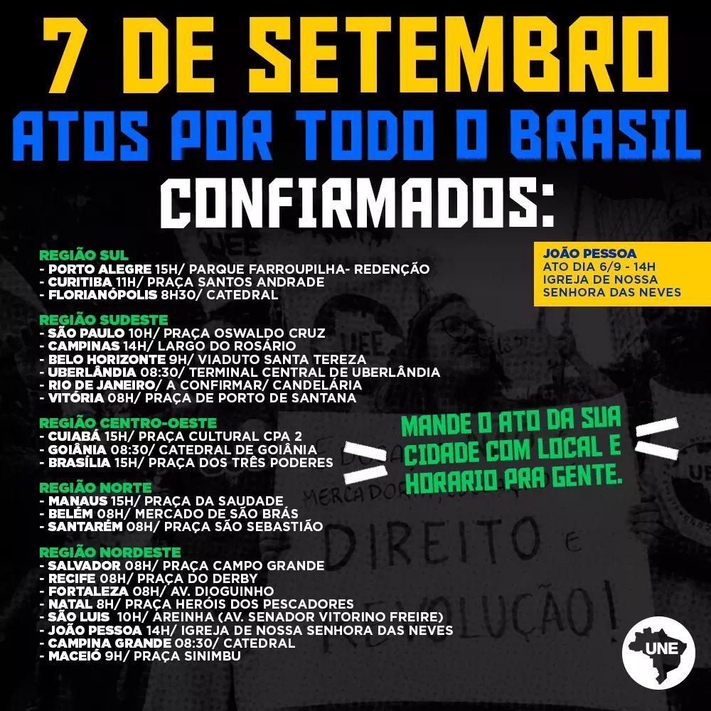 Estudantes convocam atos no 7 de setembro 1