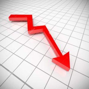 Uma flecha vermelha, em formato de linha de gráfico, apontando para baixo.