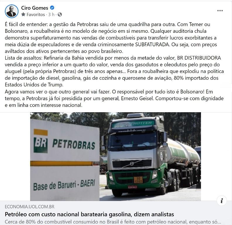 ciro gomes A roubalheira na Petrobras